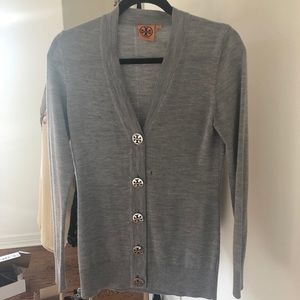 Tory Burch Gray cardigan sweater size small s